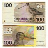 被中断的荷兰金钱100荷兰货币 库存图片