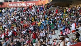 在2012个IAAF世界小辈冠军的风扇 图库摄影
