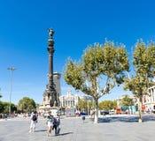 在2012年9月14日的哥伦布纪念碑在巴塞罗那,西班牙。 图库摄影