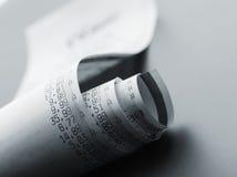 在a的买菜名单直到卷打印输出 免版税库存照片