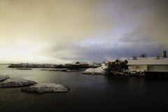 在A, Lofoten,挪威的日出 免版税库存图片