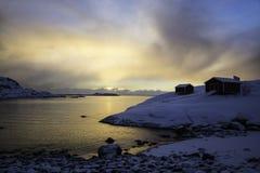 在A, Lofoten,挪威的日出 库存照片