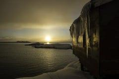 在A, Lofoten,挪威的日出 免版税库存照片