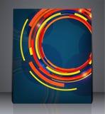 在A4大小的抽象数字式企业小册子飞行物设计,布局在蓝色颜色的盖子设计 皇族释放例证