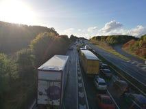 在A14的交通堵塞 库存照片