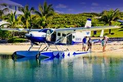 在Abaco旅馆, Elbo岩礁Abaco,巴哈马的海上飞机 库存图片
