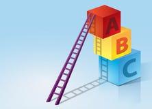 在ABC箱子的梯凳加起 免版税库存图片