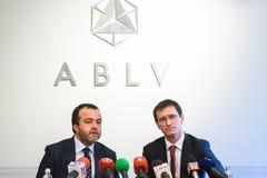 在ABLV银行的新闻招待会 免版税图库摄影