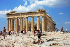 在Acropole顶部的帕台农神庙大厦,在雅典,希腊 库存图片
