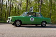 1976在ADAC符腾堡历史的Rallye的BMW 1502 2013年 免版税库存照片