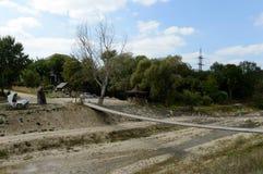 在Adagum河的步行桥在Krymsk附近 库存照片