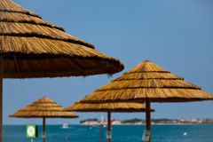 在Adria的克罗地亚遮阳伞 库存照片
