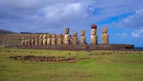 在Ahu Tongariki,复活节岛,智利的Moais 库存照片
