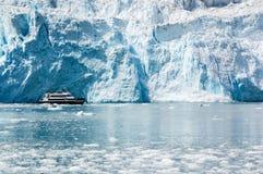 在Aialik海湾霍尔盖特冰川的巡航游览在阿拉斯加 免版税库存照片