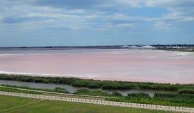 在Aigues-Mortes附近的盐湖 免版税图库摄影