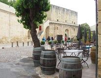 在Aigues-Mortes附近,法国垒的大阳台  库存照片