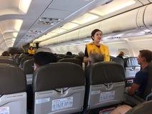 在airplaine的客舱乘员组 库存照片