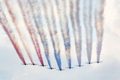 在airshow的俄国训练Su25航空器 图库摄影