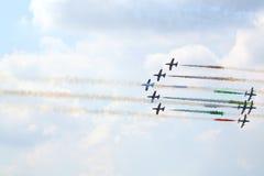 在airshow的军用意大利航空器 图库摄影