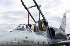 在airshow的飞机L-159美国皮革化学家协会 库存图片