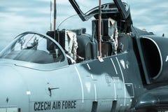 在airshow的飞机L-159美国皮革化学家协会 免版税图库摄影