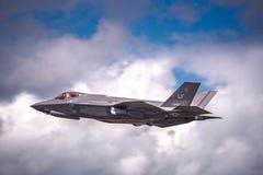 在Airshow的洛克西德・马丁F-35闪电II在英国 库存照片