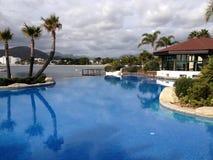 在alcudia马略卡的一个游泳池 免版税图库摄影