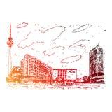 在Alexanderplatz的电视塔在柏林,德国 库存例证