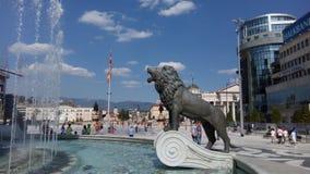 在Alexanders喷泉的狮子在斯科普里 免版税库存图片