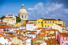 在Alfama的里斯本,葡萄牙地平线 免版税库存照片