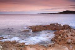 在Algajola,可西嘉岛的海岸线 库存照片