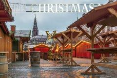 在Amagertorv哥本哈根的圣诞节市场 免版税库存图片
