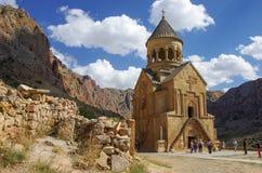 在Amaghu谷,亚美尼亚的中世纪Noravank修道院复合体 库存图片