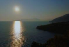 在Amalficoast的日落在意大利 库存照片