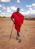 在Amboselli公园,肯尼亚- 2015年4月02日附近的未知的村庄:未知 库存照片