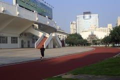 在amoy城市外面体育场的跑道  免版税库存照片