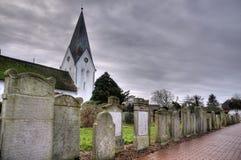 在Amrum的历史的水手墓碑 库存照片