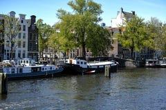 在Amstel的居住船 库存照片