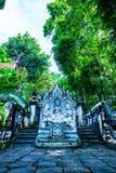 在Analyo Thipayaram寺庙的泰国样式天使雕象 免版税库存照片