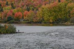 在Androscoggin河的秋天 库存照片