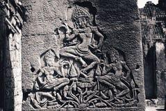 在Angkor Wat的古董在柬埔寨   免版税库存图片