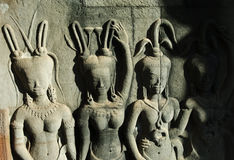 在angkor wat的四apsaras 库存照片