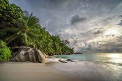 在anse乔其纱, praslin,塞舌尔群岛15的天堂海滩 免版税库存图片