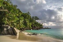 在anse乔其纱, praslin,塞舌尔群岛32的天堂海滩 免版税库存图片