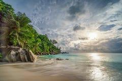 在anse乔其纱, praslin,塞舌尔群岛18的天堂海滩 免版税库存照片