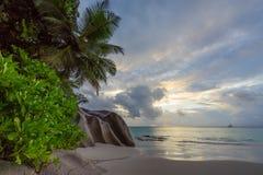 在anse乔其纱, praslin,塞舌尔群岛50的天堂海滩 免版税库存图片