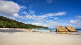 在anse拉齐奥的天堂海滩在塞舌尔群岛4 库存图片
