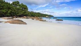 在anse拉齐奥的天堂海滩在塞舌尔群岛14 库存照片