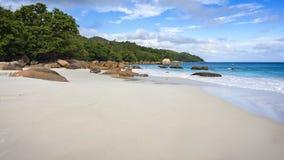 在anse拉齐奥的天堂海滩在塞舌尔群岛10 免版税库存照片