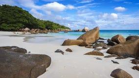 在anse拉齐奥的天堂海滩在塞舌尔群岛38 免版税库存图片